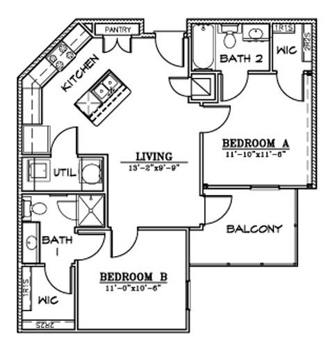 817 sq. ft. B8 floor plan