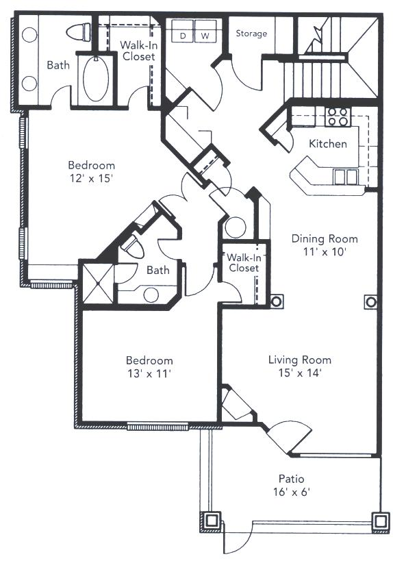 1,310 sq. ft. to 1,362 sq. ft. Fossil Creek floor plan