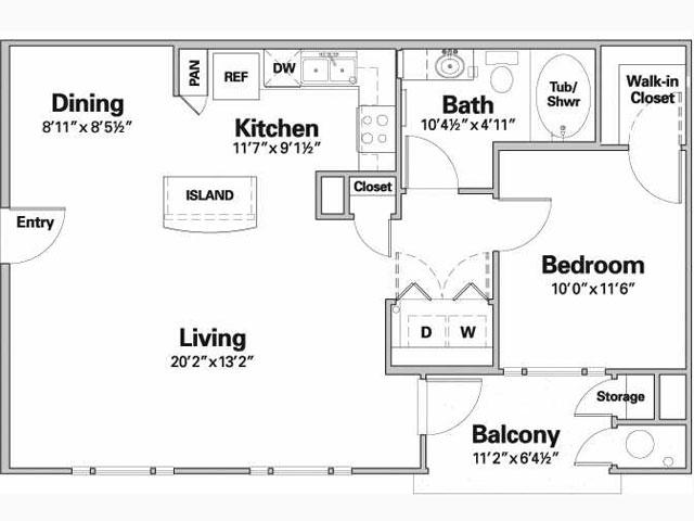 750 sq. ft. PRADOS/60% floor plan