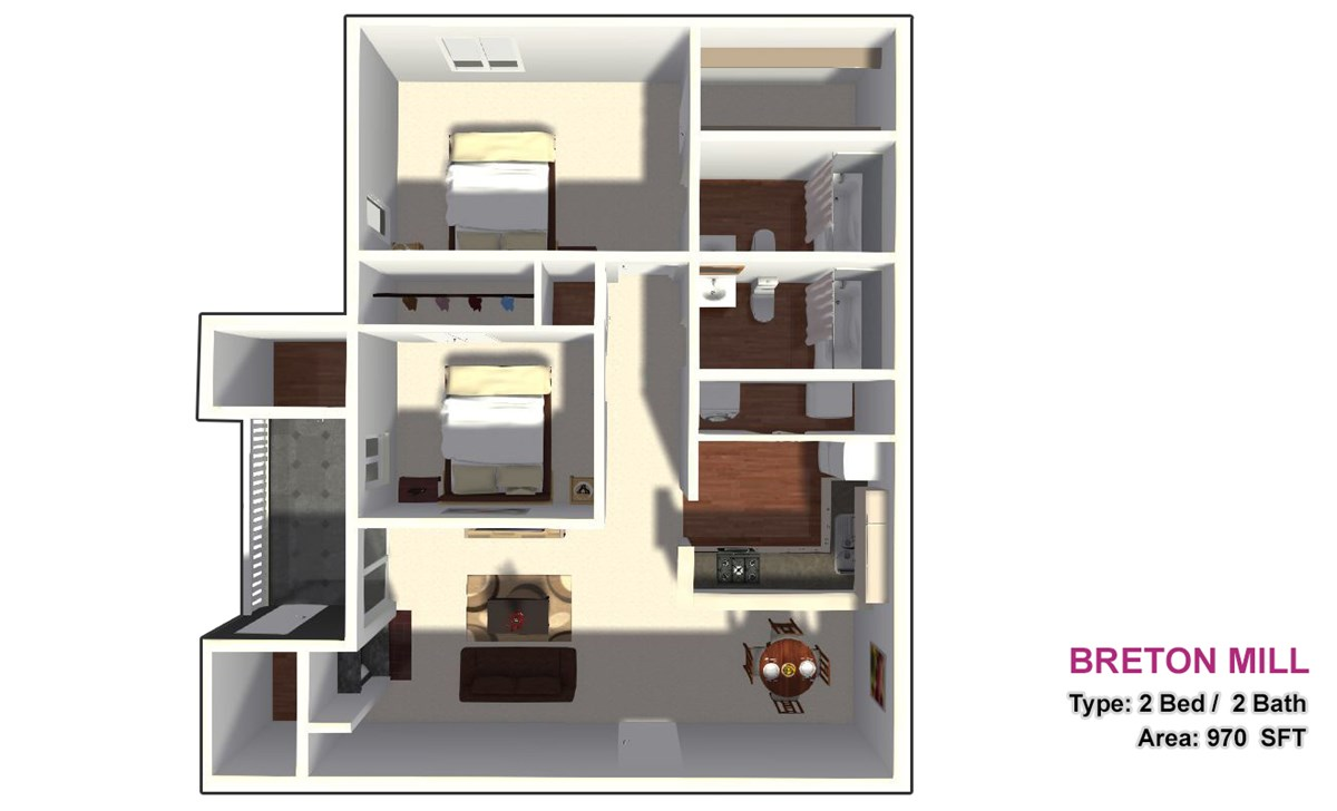 970 sq. ft. 2B floor plan