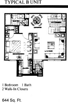 644 sq. ft. B floor plan