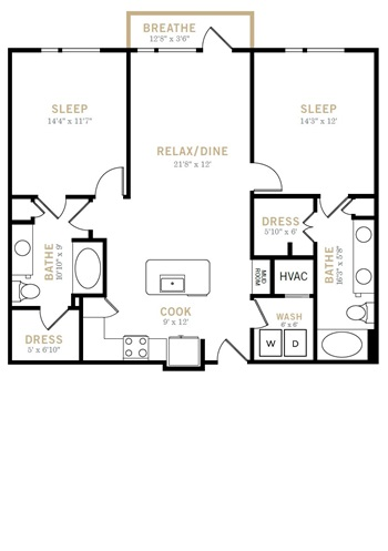 1,167 sq. ft. B6 floor plan