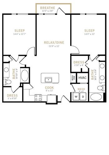1,167 sq. ft. B6 floor plan