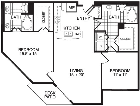 1,154 sq. ft. F2A floor plan