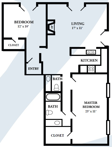 1,320 sq. ft. E floor plan