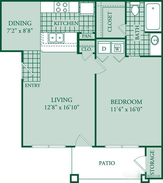 694 sq. ft. Vila floor plan