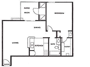 727 sq. ft. A floor plan