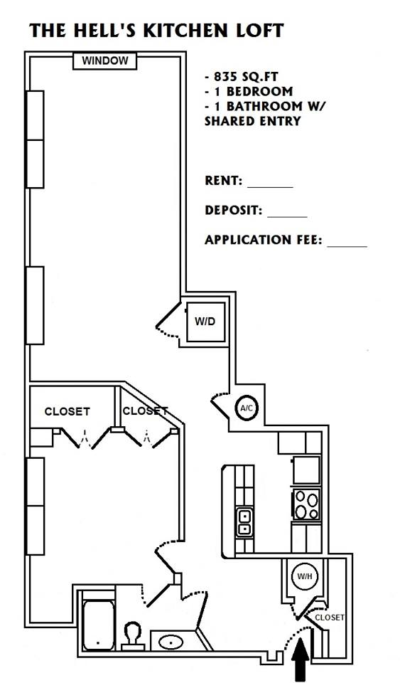 835 sq. ft. Hell's Kitchen floor plan