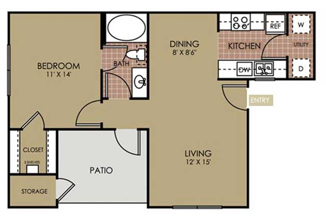 659 sq. ft. A2 floor plan