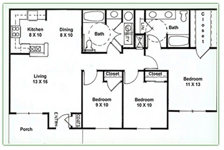 1,194 sq. ft. E floor plan
