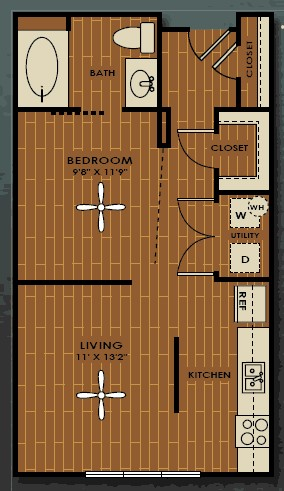 570 sq. ft. E1 floor plan