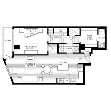 992 sq. ft. A3 floor plan