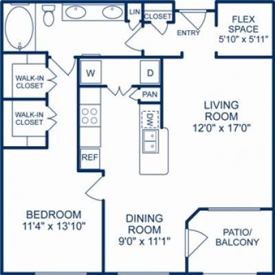 879 sq. ft. DENVER floor plan