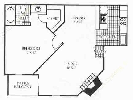 682 sq. ft. 3A2 floor plan
