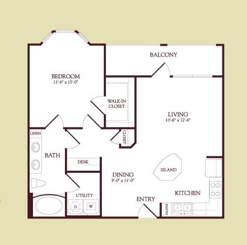 780 sq. ft. DEGAS floor plan