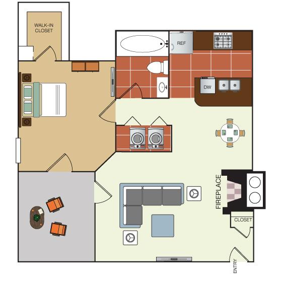 671 sq. ft. 1E floor plan