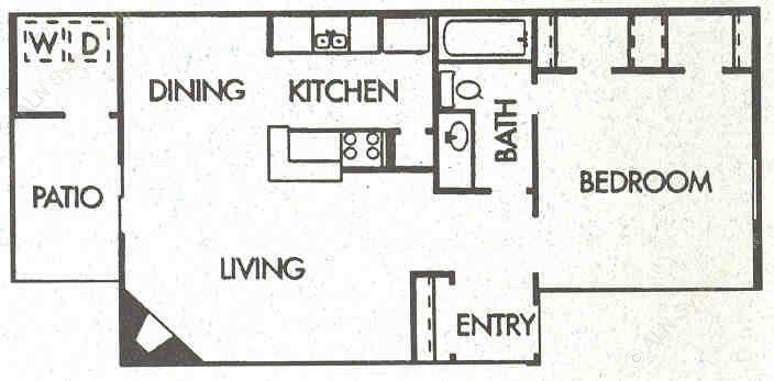 690 sq. ft. A2 floor plan