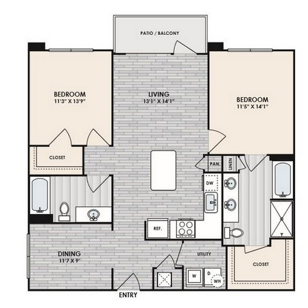 1,152 sq. ft. to 1,328 sq. ft. B3 floor plan