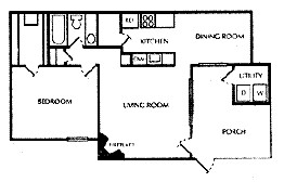 747 sq. ft. D floor plan