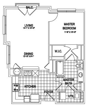 842 sq. ft. Windsor floor plan