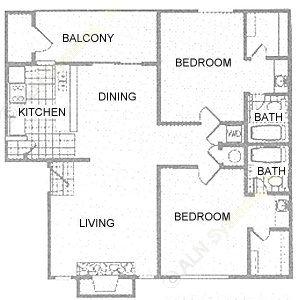 972 sq. ft. 2C floor plan