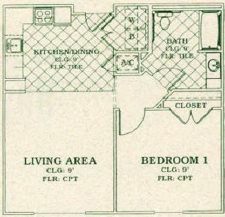 676 sq. ft. Mkt floor plan