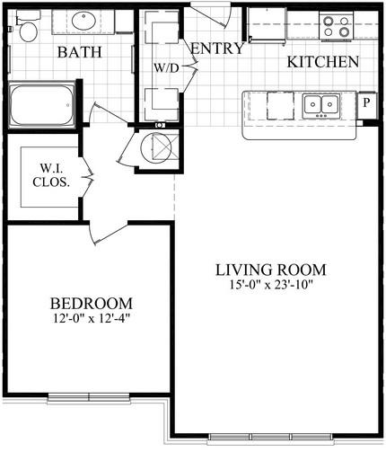 859 sq. ft. B2 floor plan