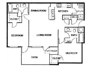 1,012 sq. ft. C/60% floor plan