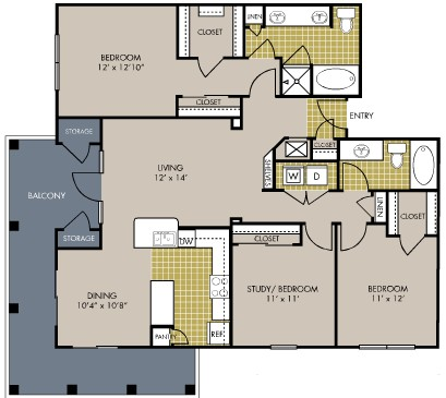 1,401 sq. ft. C1 floor plan