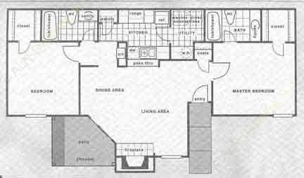 950 sq. ft. B1/B2 floor plan