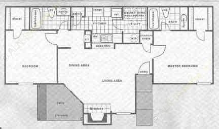 950 sq. ft. B1/B2 floor plan