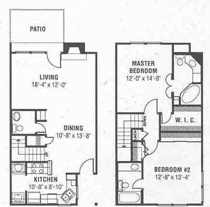 1,265 sq. ft. D floor plan