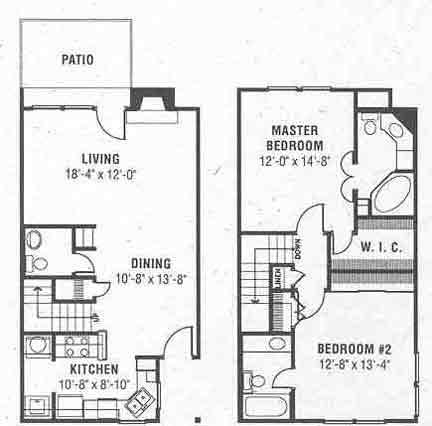 1,265 sq. ft. D floor plan