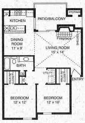 910 sq. ft. B-2 floor plan