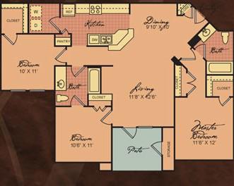 1,162 sq. ft. C1 30% floor plan