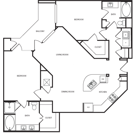 1,287 sq. ft. B4 floor plan