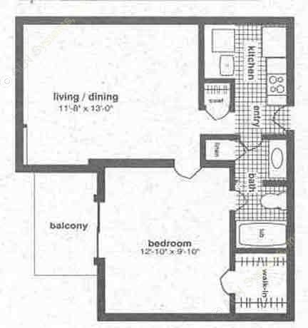 585 sq. ft. A-1 floor plan