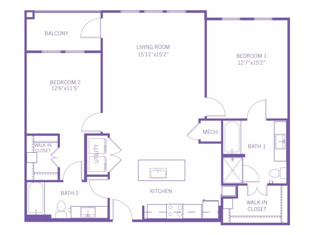 1,193 sq. ft. B3A floor plan