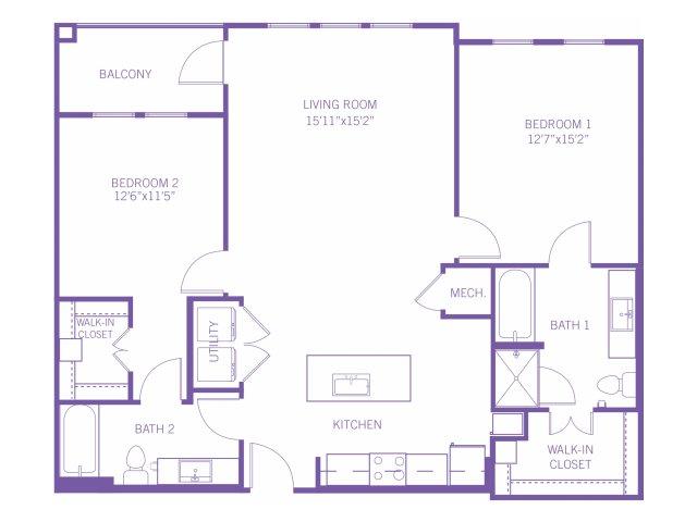 1,193 sq. ft. B3A floor plan