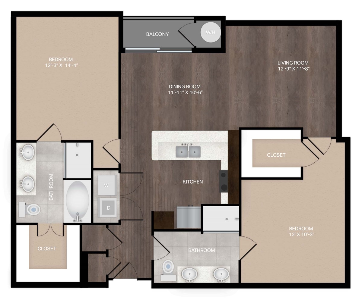 1,184 sq. ft. B2Alt2 floor plan