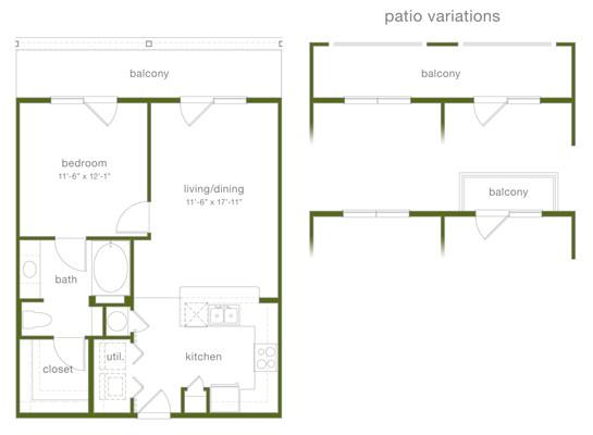 696 sq. ft. A2 floor plan