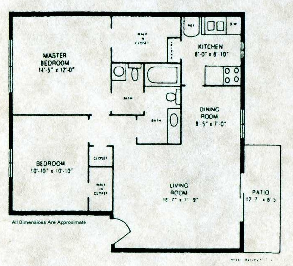 902 sq. ft. B-2 floor plan