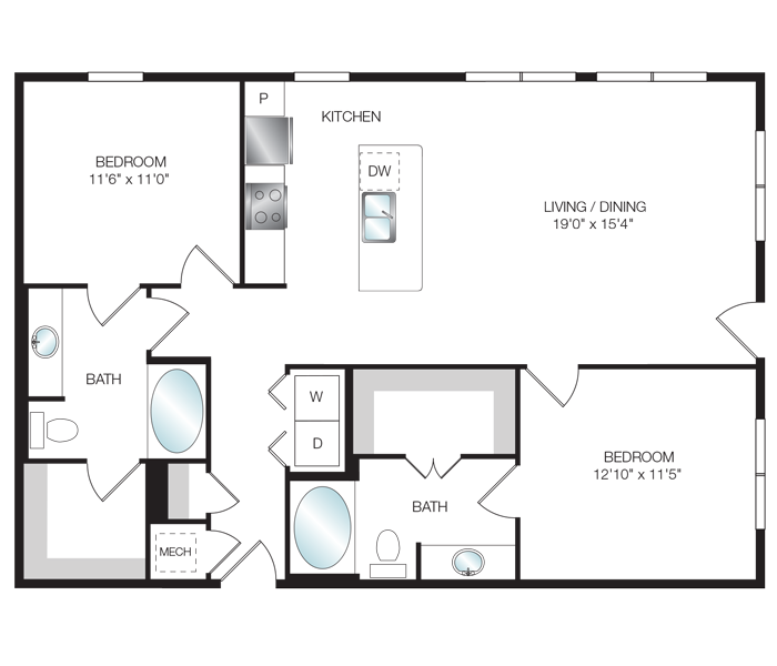 1,134 sq. ft. B3.1 floor plan