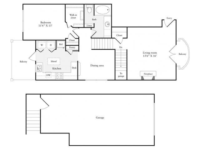 985 sq. ft. A5GT floor plan