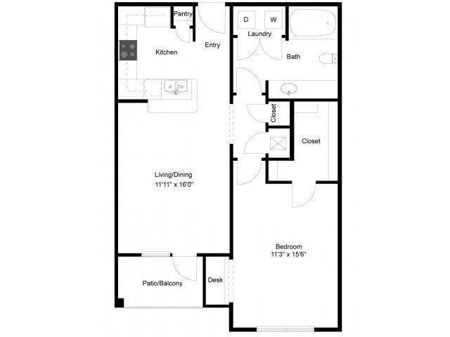 767 sq. ft. Espada Exterior floor plan