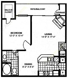 769 sq. ft. A5 floor plan