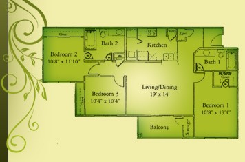 1,308 sq. ft. C1/60% floor plan