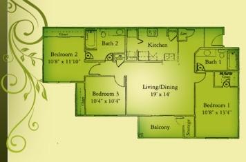 1,308 sq. ft. C1/60 floor plan
