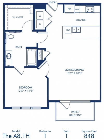 848 sq. ft. A8.1A floor plan