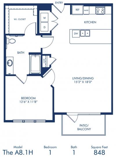 848 sq. ft. A8.1A floor plan
